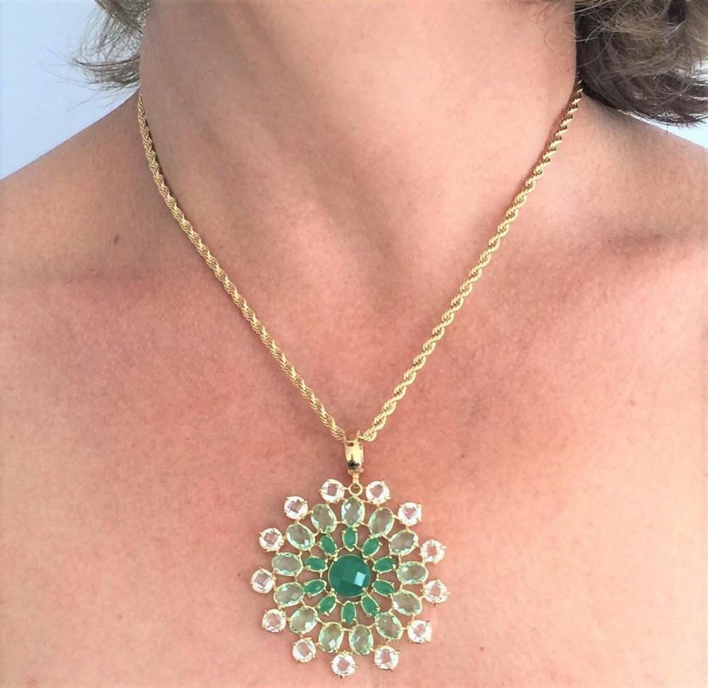 1a549f86dc7 Colar Mandala Cristal Verde